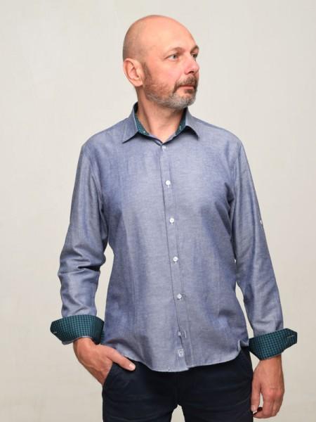 Мужская рубашка ZETTA-6 с отделкой в зеленую клетку
