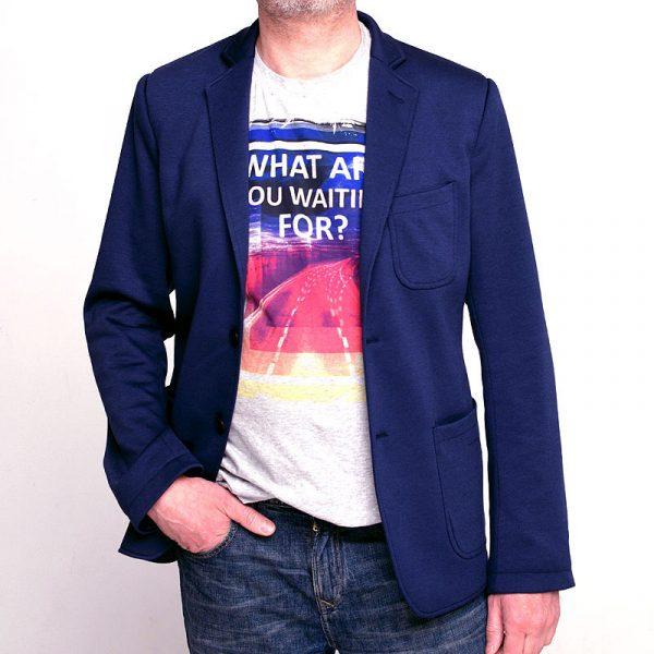 Синий трикотажный пиджак SOFT BLUE